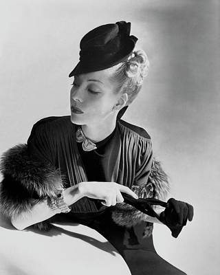 Designer Jewelry Photograph - A Model Wearing A Crepe Dress by Horst P. Horst