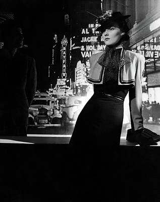 Photograph - A Model Wearing A Dress And Bolero On A New York by Horst P Horst
