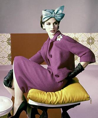 Fashion Design Photograph - A Model Wearing A Dress Suit by Horst P. Horst