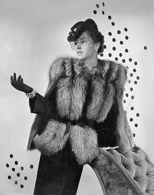 1940s Fashion Photograph - A Model Wearing A Fox Fur Jacket by Horst P. Horst