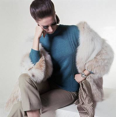 A Model Wearing A Fur Coat Art Print