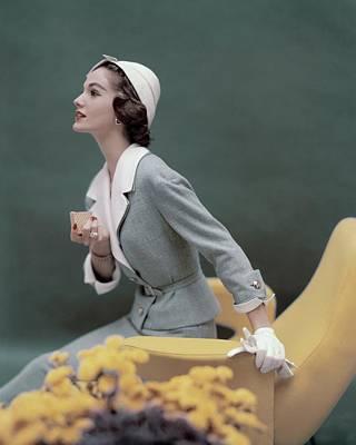 Lapel Photograph - A Model Wearing A George Carmel Suit by Karen Radkai