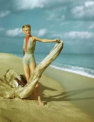 Ascot Photograph - A Model Wearing A Gray V-midriff Swimsuit by Serge Balkin