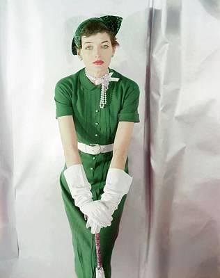 Photograph - A Model Wearing A Green Dress by Horst P. Horst