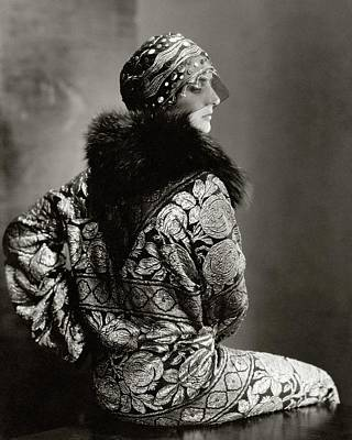 A Model Wearing A Headdress And Brocade Coat Art Print
