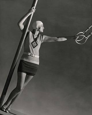 Bathing Suit Photograph - A Model Wearing A Jean Patou Bathing Suit by George Hoyningen-Huene