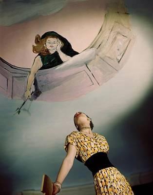 Mural Photograph - A Model Wearing A Jo Copeland Dress by Horst P. Horst