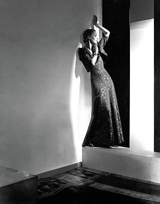 A Model Wearing A Lame Dress Art Print