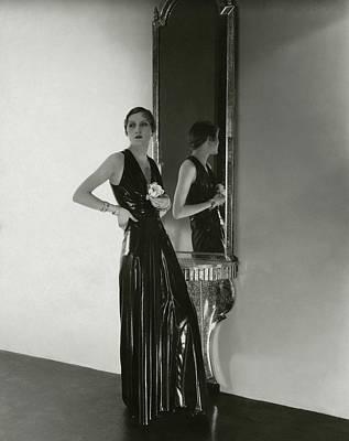 A Model Wearing A Lezard Noir Dress Art Print