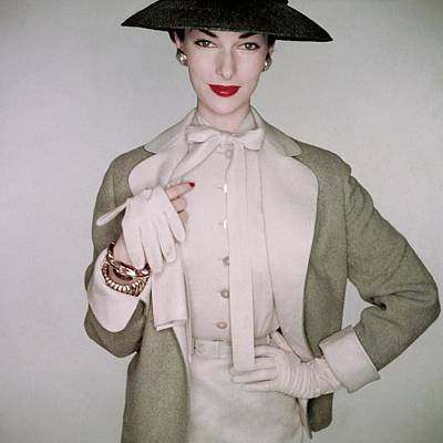 Photograph - A Model Wearing A Linen Blouse by Clifford Coffin