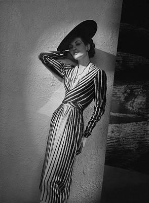 A Model Wearing A Lucien Lelong Dress Boucheron Art Print