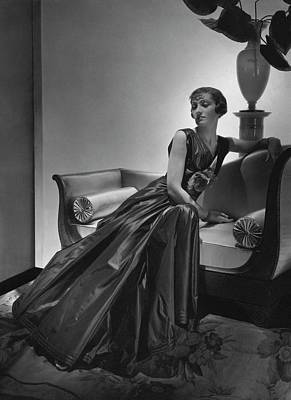 1930s Fashion Photograph - A Model Wearing A Maggy Rouff Dress by Horst P. Horst