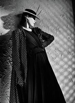A Model Wearing A Mainbocher Coat And At Talbot Art Print by Horst P. Horst