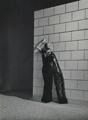 Black Dress Photograph - A Model Wearing A Mainbocher Dress by Horst P. Horst