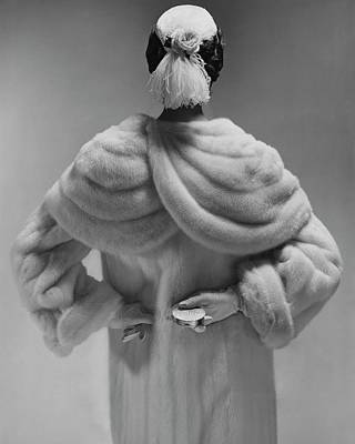 Ostrich Photograph - A Model Wearing A Mink Coat by Erwin Blumenfeld