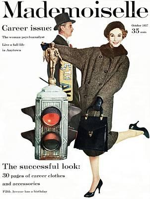 A Model Wearing A Modelia Tweed Coat Art Print by Stephen Colhoun