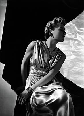 Photograph - A Model Wearing A Piguet Dress by Horst P. Horst