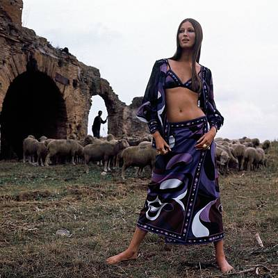 Young Man Photograph - A Model Wearing A Purple Pucci Pattern by Henry Clarke