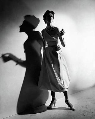 Photograph - A Model Wearing A Silk Dress by Cecil Beaton