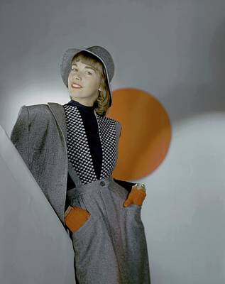 Flannel Photograph - A Model Wearing A Suit by Horst P. Horst