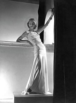 A Model Wearing A Sweater And Skirt Art Print by Horst P. Horst