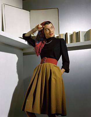 Wide Belt Photograph - A Model Wearing A Sweater by Horst P. Horst