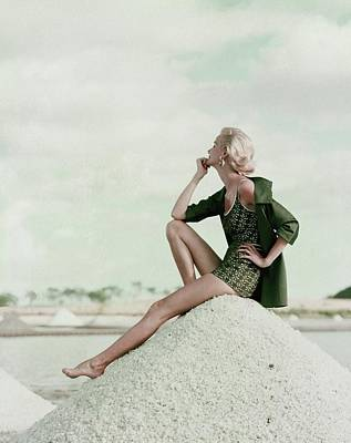 1950s Fashion Photograph - A Model Wearing A Swimsuit And Jacket by Leombruno-Bodi