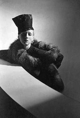 Photograph - A Model Wearing A Turban And Stole by Horst P. Horst