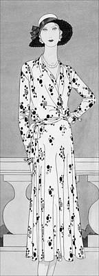 A Model Wearing A Vionnet Dress Art Print by Douglas Pollard