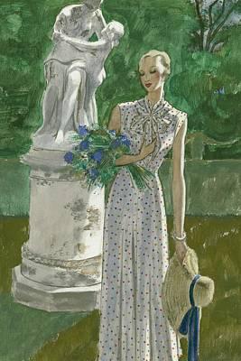 Straw Hat Digital Art - A Model Wearing A Vionnet Dress by Pierre Mourgue