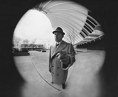 Fish-eye Look Photograph - A Model Wearing A Worumbo Camel Hair by Chadwick Hall