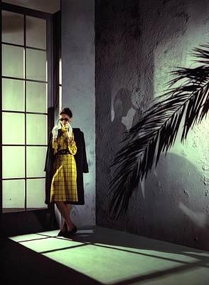 A Model Wearing A Yellow Dress Art Print by Serge Balkin