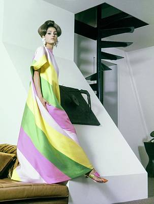 Drop Earrings Photograph - A Model Wearing A Yellow by Horst P. Horst