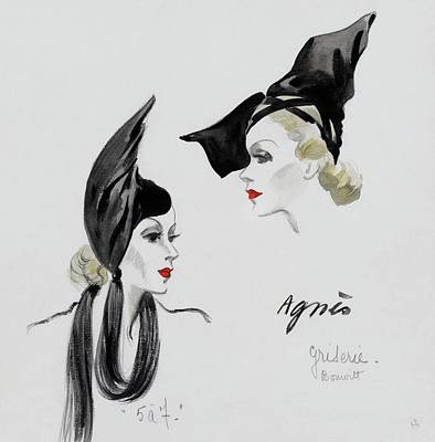 A Model Wearing An Agnes Hat Art Print