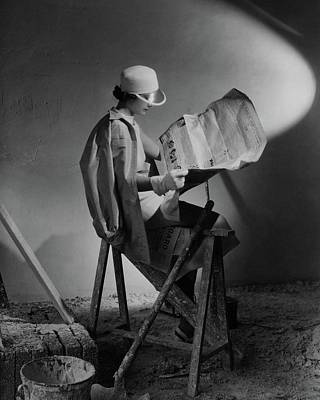 Construction Photograph - A Model Wearing An Oversized Shirt And Silk Dress by Cecil Beaton
