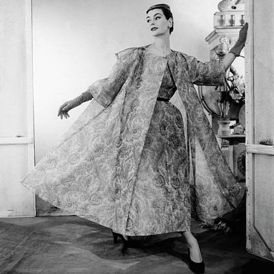 Photograph - A Model Wearing Balenciaga by Henry Clarke