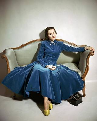 1940s Fashion Photograph - A Model Wearing Blue by Frances Mclaughlin-Gill