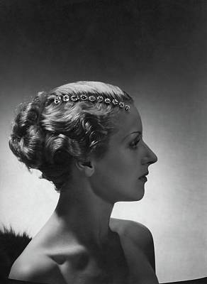 Photograph - A Model Wearing Cartier Jewelry by Horst P. Horst