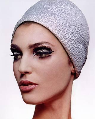 A Model Wearing Dark Eye Make-up Art Print
