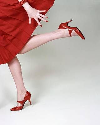 High Fashion Photograph - A Model Wearing Fleming-joffe Shoes by Richard Rutledge