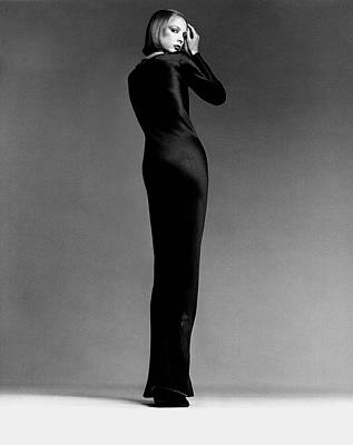 Rear Photograph - A Model Wearing Halston by Francesco Scavullo