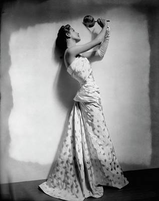 A Model Wearing Leaf Patterned Dress Art Print