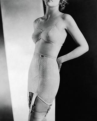 Photograph - A Model Wearing Lingerie by Horst P. Horst
