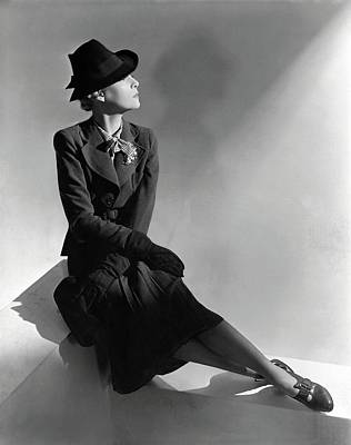 Suede Photograph - A Model Wearing Molyneux And A Hat By Descat by Horst P. Horst