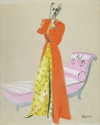 A Model Wearing Pajamas Art Print