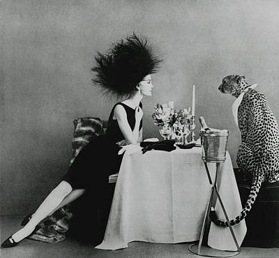 Table Photograph - A Model With A Cheetah by Leombruno-Bodi