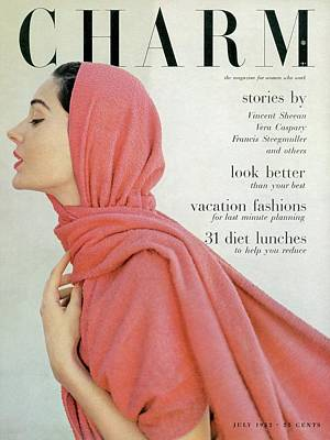 Photograph - A Model With A Pink Shawl by Francesco Scavullo