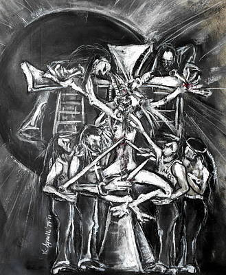 Drawing - A Modern Crucifixion Before A Blackened Sun by Kenneth Agnello