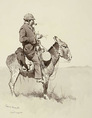 Westerns Drawing - A Modern Sancho Panza by Frederic Remington