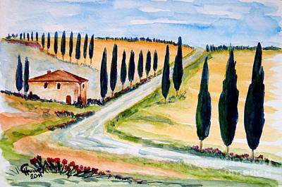 Tuscan Hills Painting - A Moment In Tuscany by Christine Huwer